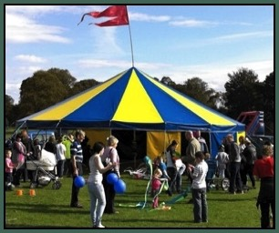 Circus skills workshops outside the Circus sensible Big Top