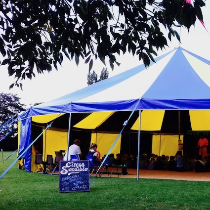 One of our beautifdul blue and yellow Big Tops at a School circus day.