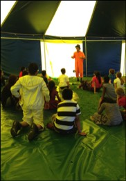 A Circus workshop in a school with our Circus tent