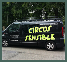 The Circus Sensible van at another Day of Circus workshops in Schools