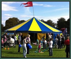 One of Circus Sensibles Big Tops for hire at a school event with Circus skills workshops.
