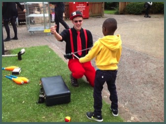 Circus skills workshops and shows in a school